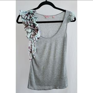 Ted Baker Gray Bows/Ruffle Tank Top, Size 1
